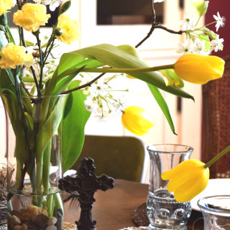 Rustic Easter Tablescape:  Humbled by the old, rugged cross